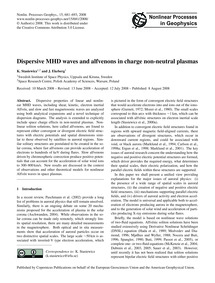 Dispersive Mhd Waves and Alfvenons in Ch... by Stasiewicz, K.
