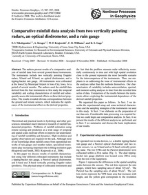 Comparative Rainfall Data Analysis from ... by Nikolopoulos, E. I.