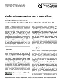 Modeling Nonlinear Compressional Waves i... by McDonald, B. E.