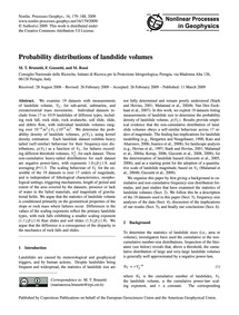Probability Distributions of Landslide V... by Brunetti, M. T.