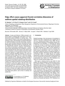 Edge Effect Causes Apparent Fractal Corr... by Uijlenhoet, R.