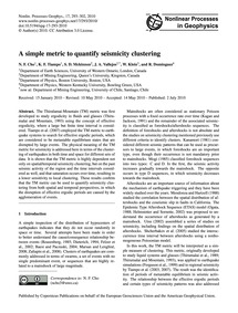 A Simple Metric to Quantify Seismicity C... by Cho, N. F.