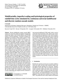 Multifractality, Imperfect Scaling and H... by Serinaldi, F.