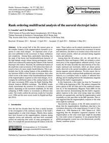 Rank Ordering Multifractal Analysis of t... by Consolini, G.