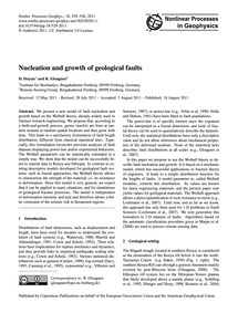 Nucleation and Growth of Geological Faul... by Stoyan, D.