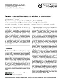 Extreme Events and Long-range Correlatio... by Sharma, A. S.