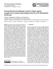 External Forcing of Earthquake Swarms at... by Svejdar, V.