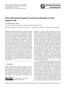 Three-dimensional Magnetic Reconnection ... by Lukin, V. S.