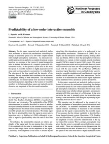 Predictability of a Low-order Interactiv... by Siqueira, L.