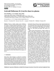 Gottwald Melborune (0–1) Test for Chaos ... by Chowdhury, D. R.