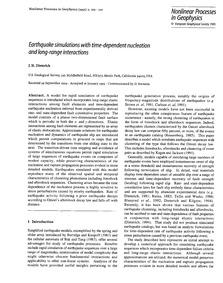 Earthquake Simulations with Time-depende... by Dieterich, J. H.