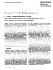 The Evolution of a Thermocline Effected ... by Druzhinin, O. A.