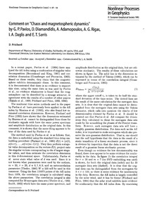 Comment on Chaos and Magnetospheric Dyna... by Prichard, D.