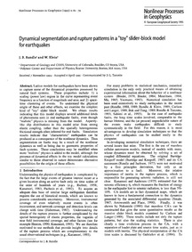 Dynamical Segmentation and Rupture Patte... by Rundle, J. B.