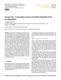 Escape Rate: a Lagrangian Measure of Par... by Haszpra, T.