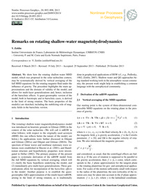 Remarks on Rotating Shallow-water Magnet... by Zeitlin, V.