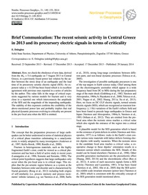 Brief Communication: the Recent Seismic ... by Dologlou, E.