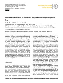 Latitudinal Variation of Stochastic Prop... by Wanliss, J. A.