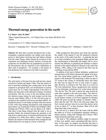 Thermal Energy Generation in the Earth :... by Mayer, F. J.