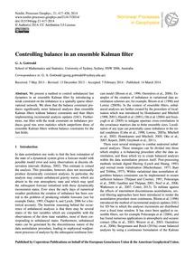 Controlling Balance in an Ensemble Kalma... by Gottwald, G. A.