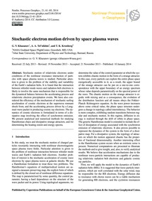 Stochastic Electron Motion Driven by Spa... by Khazanov, G. V.