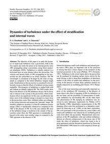 Dynamics of Turbulence Under the Effect ... by Druzhinin, O. A.