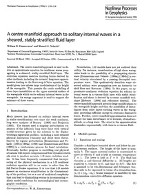 A Centre Manifold Approach to Solitary W... by Zimmerman, W. B.