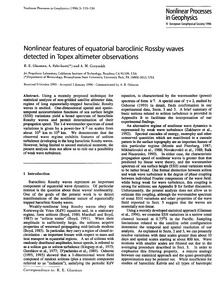 Nonlinear Features of Equatorial Barocli... by Glazman, R. E.