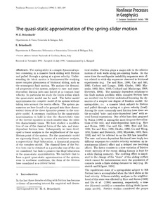 The Quasi-static Approximation of the Sp... by Belardinelli, M. E.