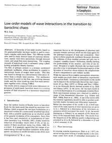 Low-order Models of Wave Interactions in... by Früh, W.-g.