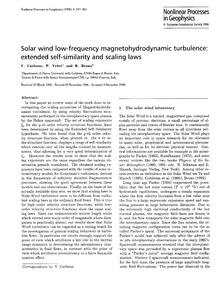 Solar Wind Low-frequency Magnetohydrodyn... by Carbone, V.