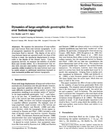 Dynamics of Large-amplitude Geostrophic ... by Benilov, E. S.