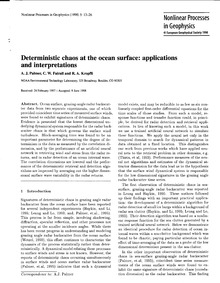 Deterministic Chaos at the Ocean Surface... by Palmer, A. J.