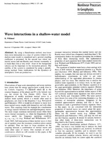 Wave Interactions in a Shallow-water Mod... by Wiklund, K.