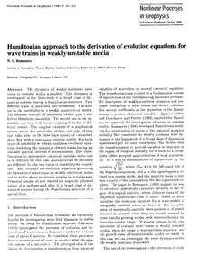 Hamiltonian Approach to the Derivation o... by Romanova, N. N.