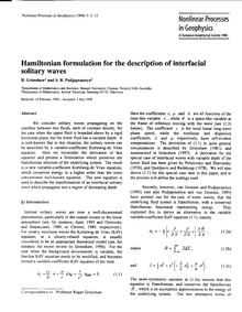 Hamiltonian Formulation for the Descript... by Grimshaw, R.