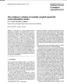 The Nonlinear Evolution of Unstable Coup... by Van Der Vaart, P. C. F.
