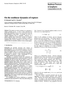 On the Nonlinear Dynamics of Rupture : V... by Ockendon, H.