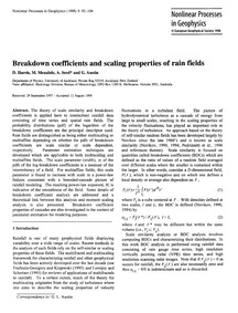 Breakdown Coefficients and Scaling Prope... by Harris, D.
