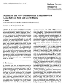 Dissipation and Wave-ion Interaction in ... by Marsch, E.