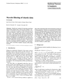 Wavelet Filtering of Chaotic Data : Volu... by Grzesiak, M.
