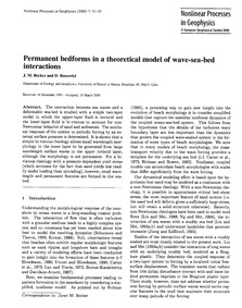 Permanent Bedforms in a Theoretical Mode... by Becker, J. M.