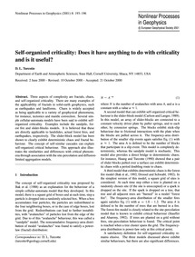 Self-organized Criticality: Does it Have... by Turcotte, D. L.