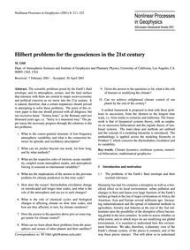 Hilbert Problems for the Geosciences in ... by Ghil, M.
