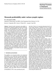 Mesoscale Predictability Under Various S... by Nuss, W. A.