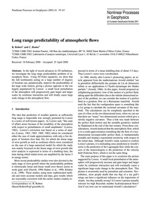 Long Range Predictability of Atmospheric... by Robert, R.