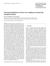 Numerical Simulations of a Three-wave Co... by Usui, H.
