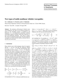 New Types of Stable Nonlinear Whistler W... by Zaliznyak, Yu. A.