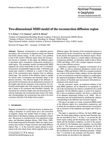 Two-dimensional Mhd Model of the Reconne... by Erkaev, N. V.