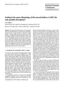 Scaling in the Space Climatology of the ... by Watkins, N. W.